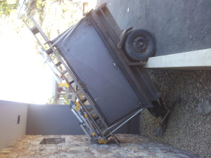 29 July 2014 - trailer blown across the carpark by the wind!